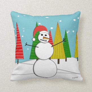 Whimsical Snowman Pillow
