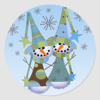 Whimsical Snowmen Stickers
