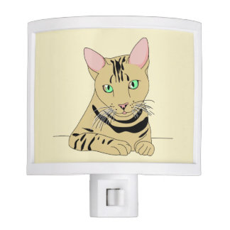 Whimsical Soft Yellow Cat with Green Eyes Nite Lite