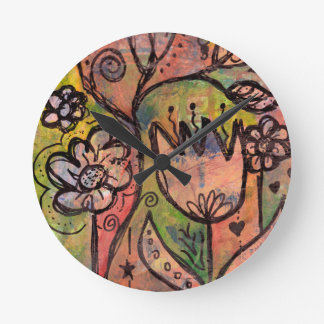 Whimsical Spring Faerie Garden Wall Clocks