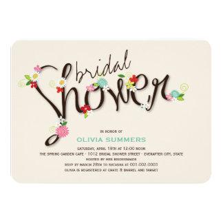 Whimsical Spring Flowers Chic Bridal Shower Invite