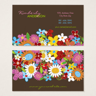 Whimsical Spring Flowers Garden Business Card