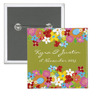 Whimsical Spring Flowers Garden Wedding Name Tag 2 Inch Square Button