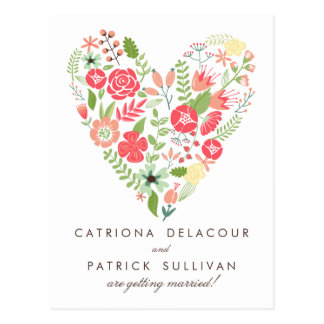 WHIMSICAL SPRING FLOWERS SAVE THE DATE POSTCARD
