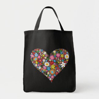 Whimsical Spring Flowers Valentine Cute Heart Love Grocery Tote Bag