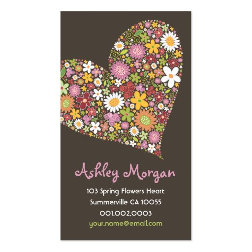Whimsical Spring Flowers Valentine Heart Love Business Card Template
