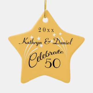 Whimsical Star 50th Anniversary Gifts-Christmas Double-Sided Star Ceramic Christmas Ornament