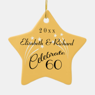 Whimsical Star 60th Anniversary Gifts-Christmas Ceramic Ornament