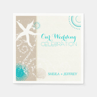 Whimsical Starfish + Beach Sand Wedding Paper Napkin