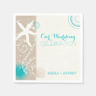 Whimsical Starfish + Beach Sand Wedding Paper Napkin