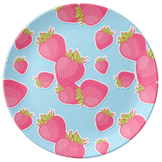 Whimsical Strawberry Pattern on Blue Porcelain Plate