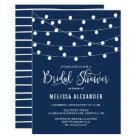 Whimsical String Lights Navy Blue Bridal Shower Card