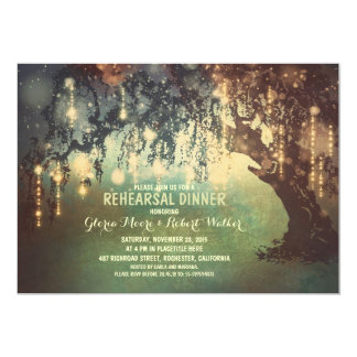 whimsical string lights tree rehearsal dinner card