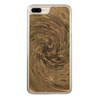 Whimsical Stylish Floral Swirl Monogram Artisan Carved iPhone 8 Plus/7 Plus Case