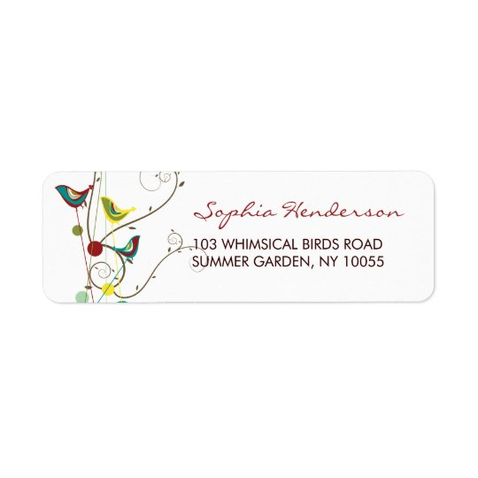 Whimsical Summer Birds And Swirls Address Labels