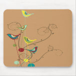 Whimsical Summer Birds Swirls Modern Nature Vines