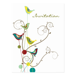 Whimsical Summer Birds Swirls Modern Nature Vines Postcard
