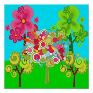 Whimsical Summer Lollipop Tree Colorful Forest Poster