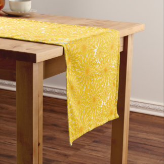 whimsical sunny yellow dandelions pattern short table runner