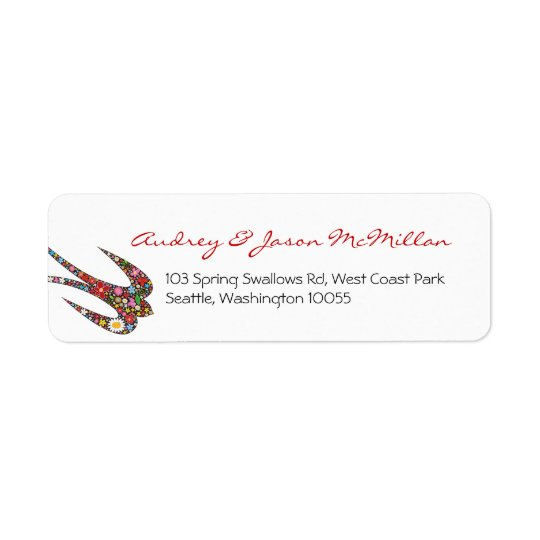 Whimsical Swallow Spring Flowers Address Labels