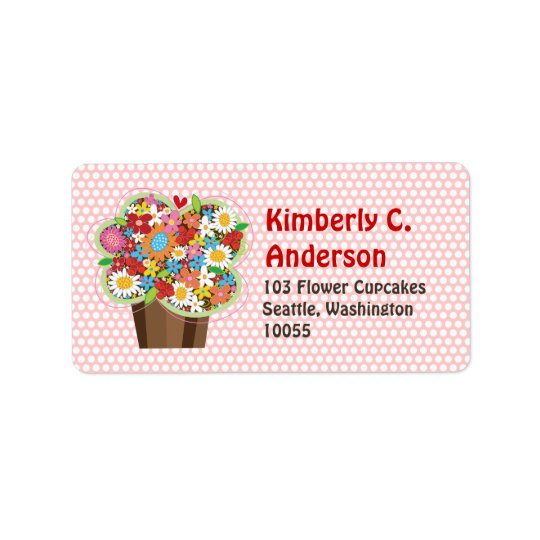 Whimsical Sweet Cupcake Spring Flowers Floral Chic Label