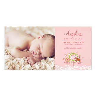 Whimsical Sweet Pink Blooms Girl Baby Announcement Photo Card