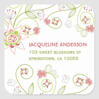 Whimsical Sweet Pink Floral Blooms Address Sticker