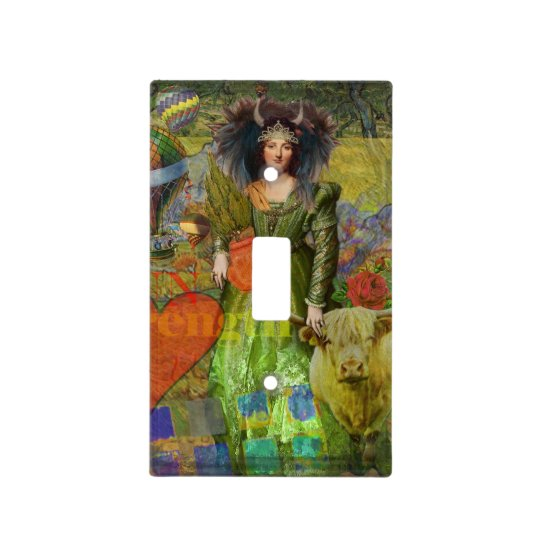 Whimsical Taurus Woman Celestial Collage Fantasy Light Switch Cover