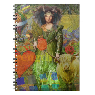 Whimsical Taurus Woman Celestial Collage Fantasy Notebook