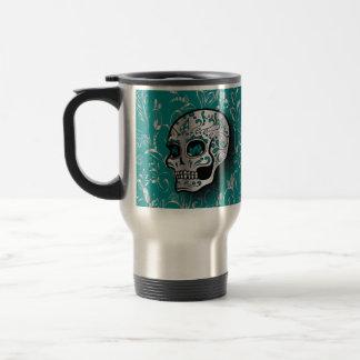 Whimsical Teal and Silver Sugar Skull Travel Mug