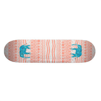 Whimsical Teal Paisley Elephant Pink Aztec Pattern Skateboards