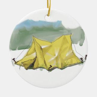 Whimsical Tent Illustration Christmas Ornament