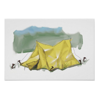 Whimsical Tent Illustration Poster