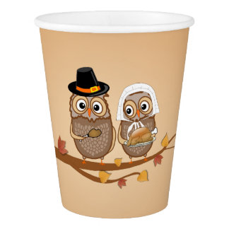 Whimsical Thanksgiving Owls Paper Cup