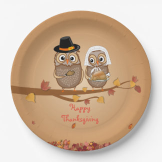 Whimsical Thanksgiving Owls Paper Plate