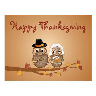 Whimsical Thanksgiving Owls Postcard
