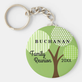 Whimsical Tree Family Reunion Dated Souvenir Gift Basic Round Button Keychain