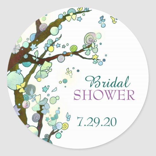 Whimsical Tree Themed White Bridal Shower Classic Round Sticker