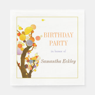 Whimsical Trees Birthday Party Paper Napkin