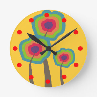 Whimsical Trees Clock Bold Colors