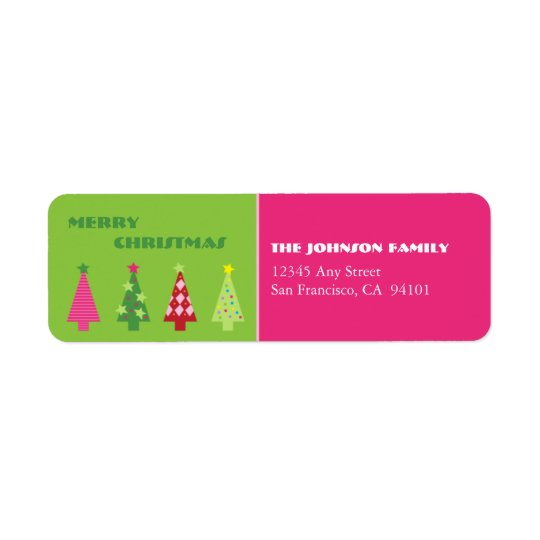 Whimsical Trees Holiday Address Labels (pink)