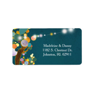 Whimsical Trees Teal Wedding Address Label