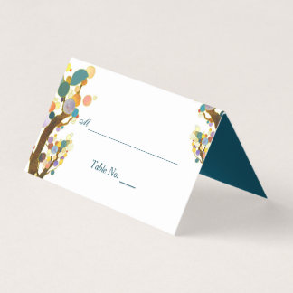 Whimsical Trees Teal Wedding Place Card