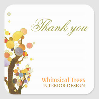 Whimsical Trees Unique Business Thank You Square Sticker