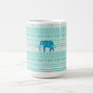 Whimsical Turquoise Paisley Elephant Aztec Pattern Coffee Mug