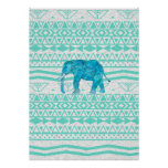 Whimsical Turquoise Paisley Elephant Aztec Pattern Poster