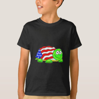 Whimsical Turtle Flag Red White Blue T-Shirt