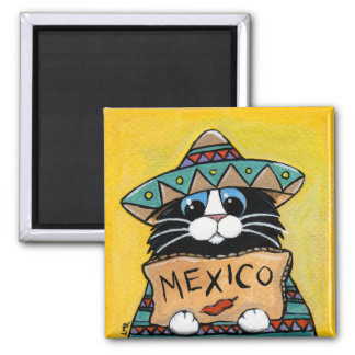 Whimsical Tuxedo Cat Mexican Hitchhiker Magnet