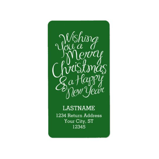 Whimsical Typography for Christmas and New Year Label