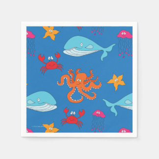 Whimsical Under the Sea Cocktail Napkin, Dark Blue Disposable Napkin